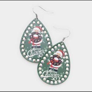 🎅🏻New! Santa green bling Christmas earrings
